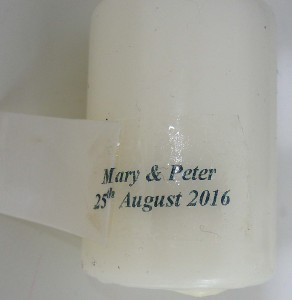 decal onto candle
