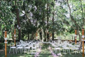 wedding venue with bamboo flare